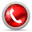 图库照片: Telephone red glossy christmas icon on white background