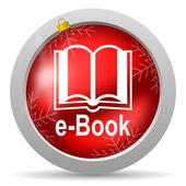 E-book red glossy christmas icon on white background — Stock Photo