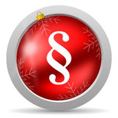 Paragraph red glossy christmas icon on white background — Stock Photo
