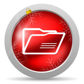 Folder red glossy christmas icon on white background — Stock Photo