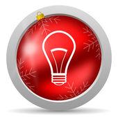 Icono de navidad brillante bombilla roja sobre fondo blanco — Foto de Stock