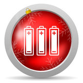 Batteries red glossy christmas icon on white background — Stock Photo