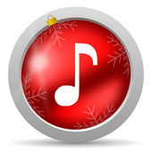 Music red glossy christmas icon on white background — Foto de Stock
