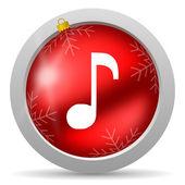 Beyaz arka planda müzik kırmızı parlak Noel simgesi — Stok fotoğraf