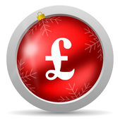 Pound red glossy christmas icon on white background — Stock Photo