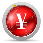Yen red glossy christmas icon on white background — Stock Photo