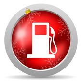 Icono de navidad brillante rojo sobre fondo blanco del combustible — Foto de Stock