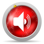Volume red glossy christmas icon on white background — Stock Photo