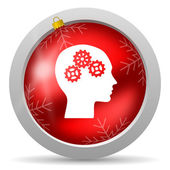 Head red glossy christmas icon on white background — 图库照片