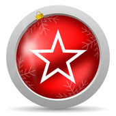 Star red glossy christmas icon on white background — 图库照片