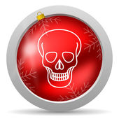 Skull red glossy christmas icon on white background — Stock fotografie