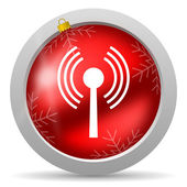Wifi red glossy christmas icon on white background — Stock Photo