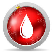 Water drop red glossy christmas icon on white background — Stock Photo