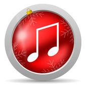 Icono de navidad brillante música rojo sobre fondo blanco — Foto de Stock