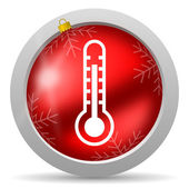 Thermometer red glossy christmas icon on white background — Stock Photo