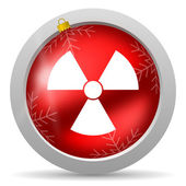 Radiation red glossy christmas icon on white background — Stock Photo