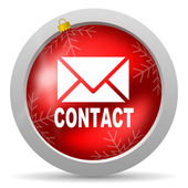 Contact red glossy christmas icon on white background — Stock Photo