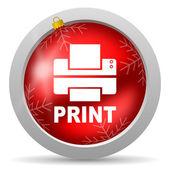 Imprimir icono navidad brillante rojo sobre fondo blanco — Foto de Stock