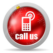 Call us red glossy christmas icon on white background — Stock Photo