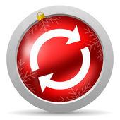 перезагрузить глянцевый рождество значок красного цвета на белом фоне — Стоковое фото