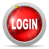 Login red glossy christmas icon on white background — Stock Photo