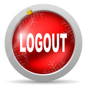 Logout red glossy christmas icon on white background — Stock Photo