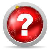 Question mark red glossy christmas icon on white background — Stock Photo