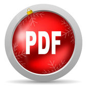 Pdf red glossy christmas icon on white background — Stock Photo