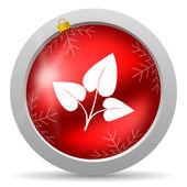 Eco red glossy christmas icon on white background — Foto de Stock