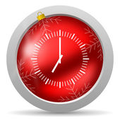 Clock red glossy christmas icon on white background — Stock Photo