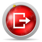 Exit red glossy christmas icon on white background — Foto de Stock