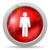 Man red glossy christmas icon on white background — Foto de Stock