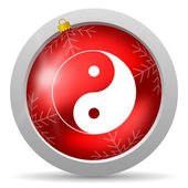 Ying yang red glossy christmas icon on white background — Stock Photo