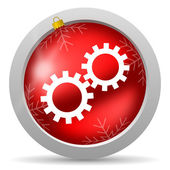 Gears red glossy christmas icon on white background — Stock Photo