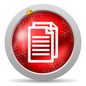 Document red glossy christmas icon on white background — Stock Photo