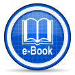 E-book blue glossy icon on white background - Stok fotoğraf