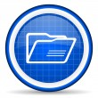 图库照片: Folder blue glossy icon on white background