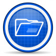 Folder blue glossy icon on white background — Photo #16202267