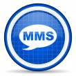 Stock Photo: Mms blue glossy icon on white background