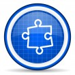 Royalty-Free Stock Photo: Puzzle blue glossy icon on white background