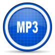 Foto Stock: Mp3 blue glossy icon on white background