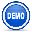 图库照片: Demo blue glossy icon on white background