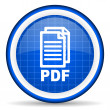 Pdf blue glossy icon on white background - 图库照片