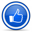 Stock Photo: Thumb up blue glossy icon on white background