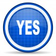 Yes blue glossy icon on white background — Stock Photo