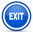 Exit blue glossy icon on white background — Stock Photo
