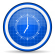 Stock Photo: Clock blue glossy icon on white background
