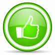 Stock Photo: Thumb up green glossy icon on white background