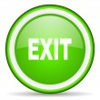 Exit green glossy icon on white background — Stock Photo