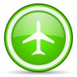 Airplane green glossy icon on white background — Stock Photo #16205339